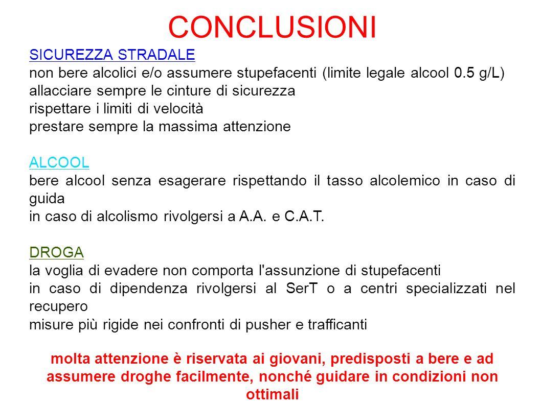 CONCLUSIONI SICUREZZA STRADALE non bere alcolici e/o assumere stupefacenti (limite legale alcool 0.5 g/L) allacciare sempre le cinture di sicurezza ri