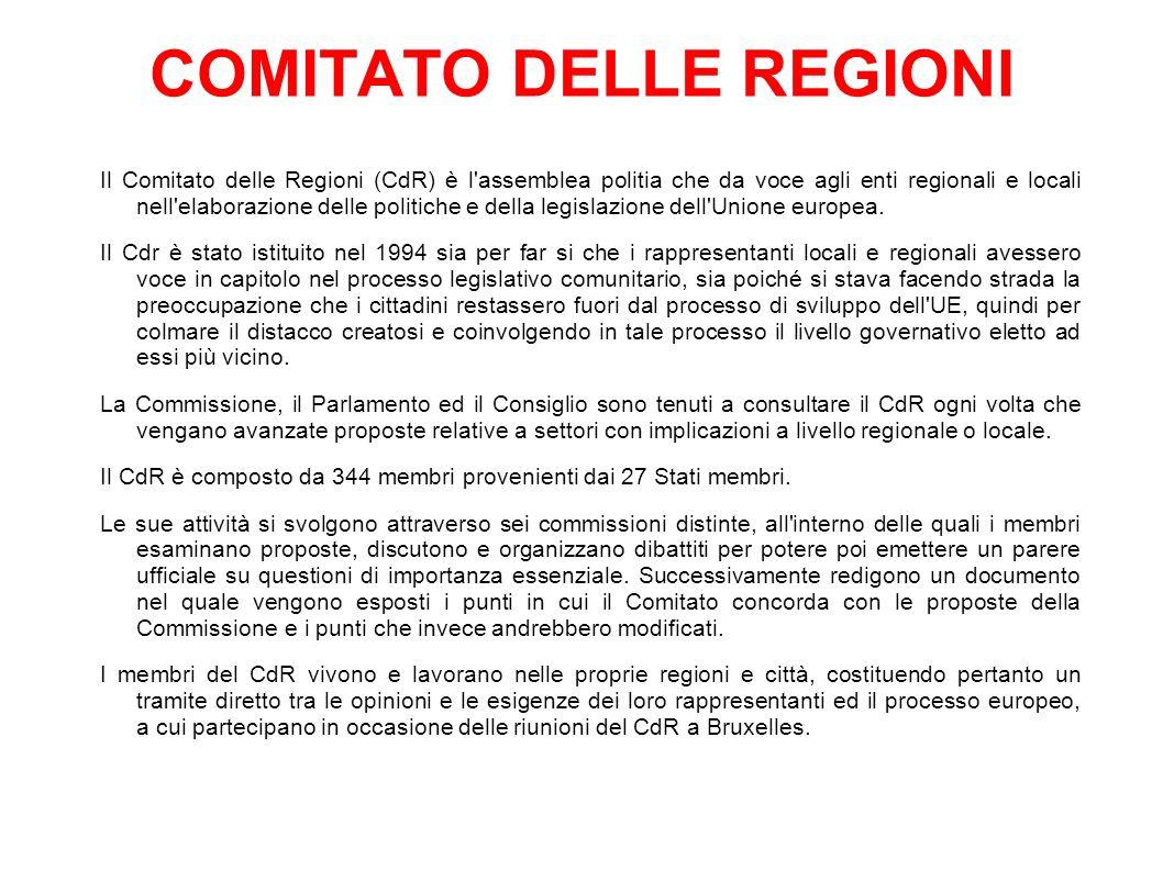 COMITATO DELLE REGIONI Il Comitato delle Regioni (CdR) è l assemblea politia che da voce agli enti regionali e locali nell elaborazione delle politiche e della legislazione dell Unione europea.