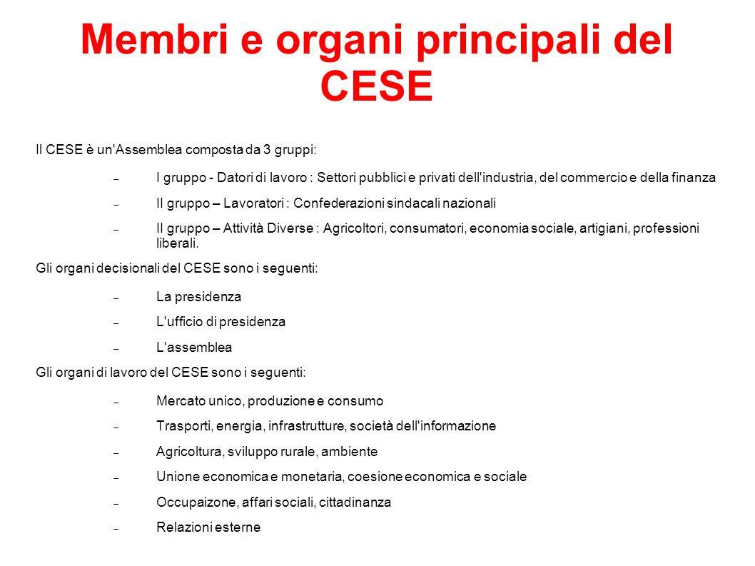 Membri e organi principali del CESE Il CESE è un'Assemblea composta da 3 gruppi: I gruppo - Datori di lavoro : Settori pubblici e privati dell'industr