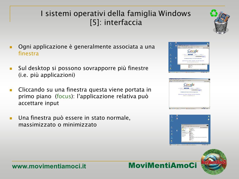 MoviMentiAmoCi www.movimentiamoci.it Ogni applicazione è generalmente associata a una finestra Sul desktop si possono sovrapporre più finestre (i.e.