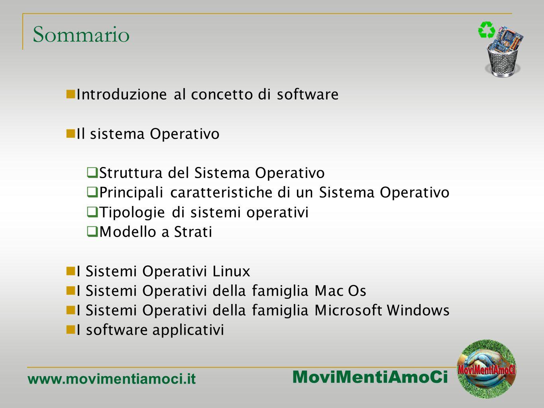 MoviMentiAmoCi www.movimentiamoci.it Sommario Introduzione al concetto di software Il sistema Operativo Struttura del Sistema Operativo Principali caratteristiche di un Sistema Operativo Tipologie di sistemi operativi Modello a Strati I Sistemi Operativi Linux I Sistemi Operativi della famiglia Mac Os I Sistemi Operativi della famiglia Microsoft Windows I software applicativi