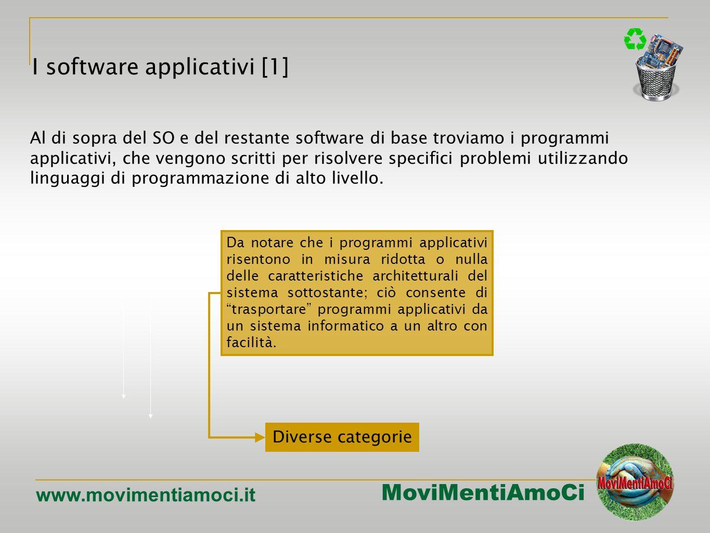 MoviMentiAmoCi www.movimentiamoci.it I software applicativi [1] Da notare che i programmi applicativi risentono in misura ridotta o nulla delle caratteristiche architetturali del sistema sottostante; ciò consente di trasportare programmi applicativi da un sistema informatico a un altro con facilità.