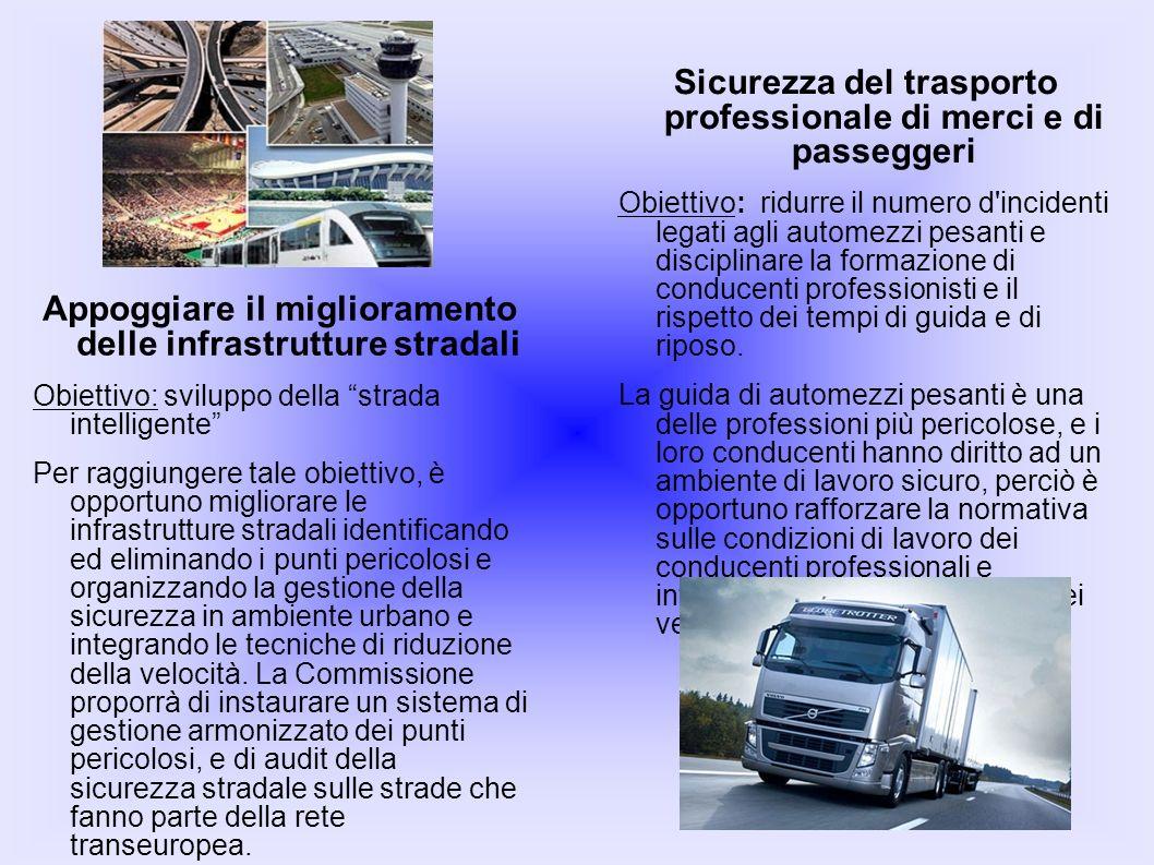 Appoggiare il miglioramento delle infrastrutture stradali Obiettivo: sviluppo della strada intelligente Per raggiungere tale obiettivo, è opportuno mi