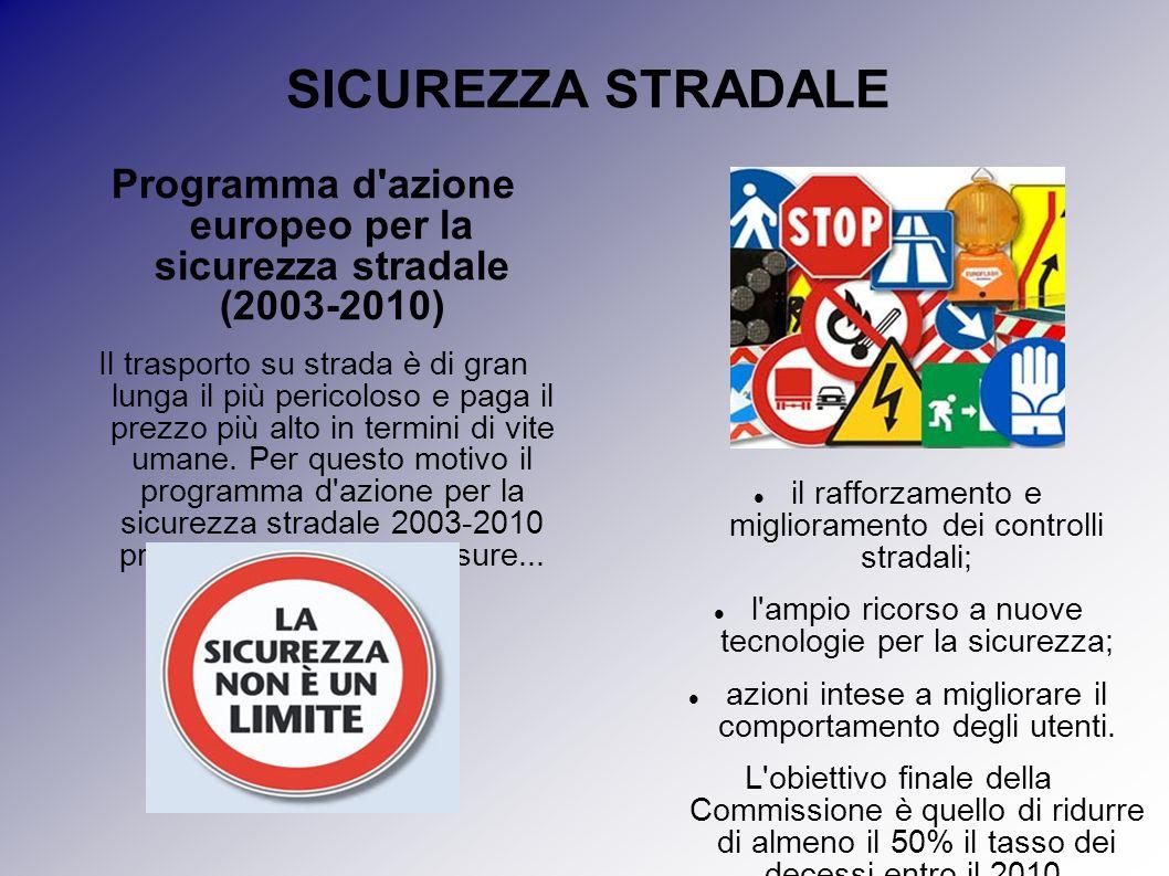 SICUREZZA STRADALE Programma d'azione europeo per la sicurezza stradale (2003-2010) Il trasporto su strada è di gran lunga il più pericoloso e paga il