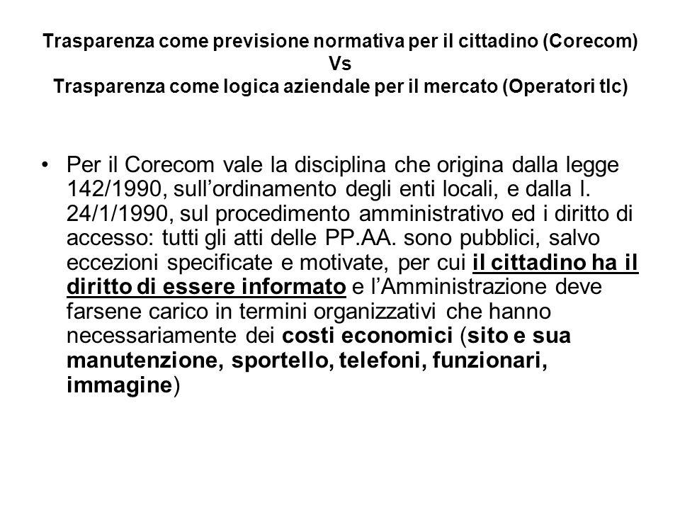 Trasparenza come previsione normativa per il cittadino (Corecom) Vs Trasparenza come logica aziendale per il mercato (Operatori tlc) Per il Corecom vale la disciplina che origina dalla legge 142/1990, sullordinamento degli enti locali, e dalla l.