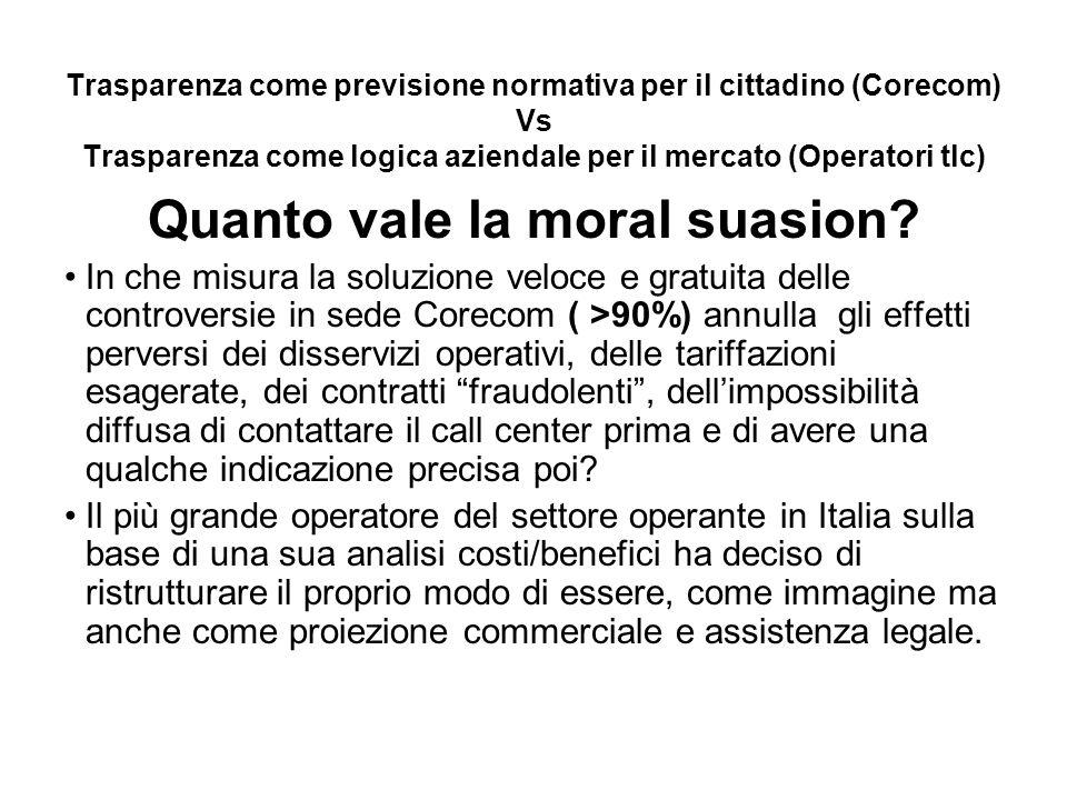 Trasparenza come previsione normativa per il cittadino (Corecom) Vs Trasparenza come logica aziendale per il mercato (Operatori tlc) Quanto vale la moral suasion.