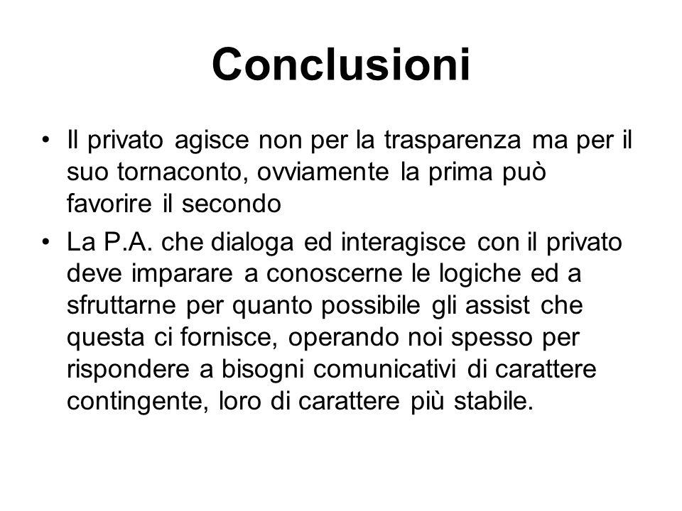 Conclusioni Il privato agisce non per la trasparenza ma per il suo tornaconto, ovviamente la prima può favorire il secondo La P.A.