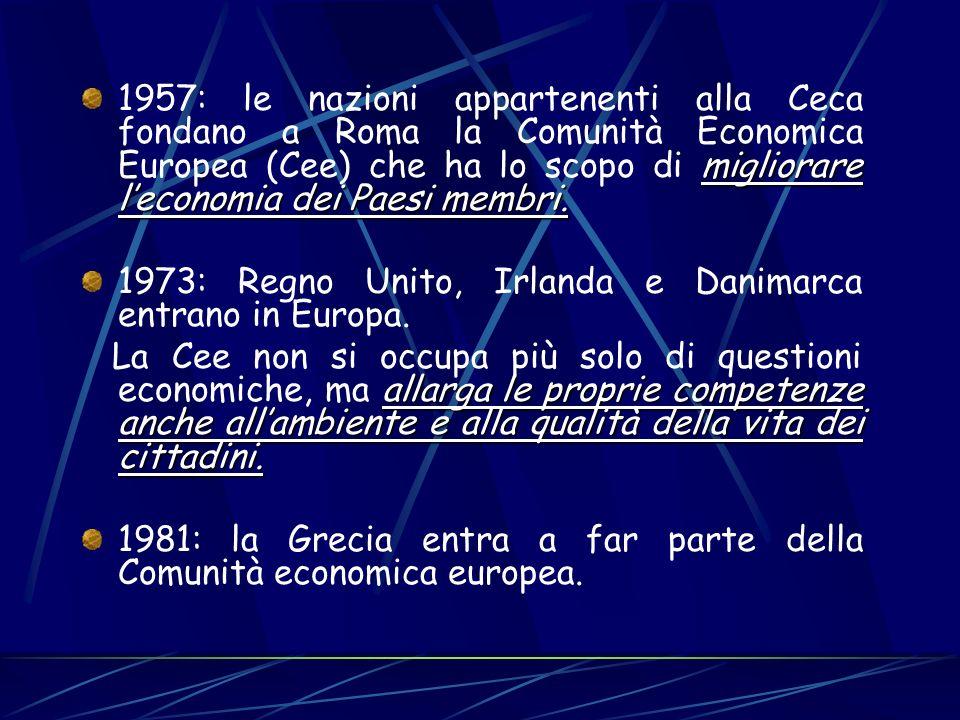 migliorare leconomia dei Paesi membri. 1957: le nazioni appartenenti alla Ceca fondano a Roma la Comunità Economica Europea (Cee) che ha lo scopo di m