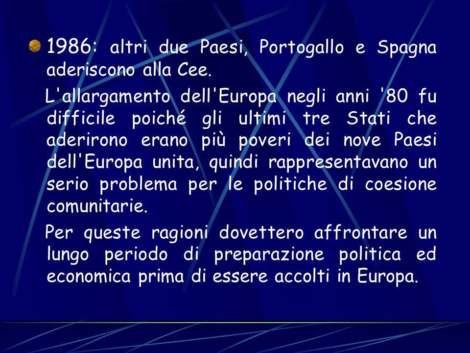 1986: altri due Paesi, Portogallo e Spagna aderiscono alla Cee. L'allargamento dell'Europa negli anni '80 fu difficile poiché gli ultimi tre Stati che