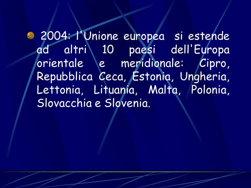 2004: l'Unione europea si estende ad altri 10 paesi dell'Europa orientale e meridionale: Cipro, Repubblica Ceca, Estonia, Ungheria, Lettonia, Lituania