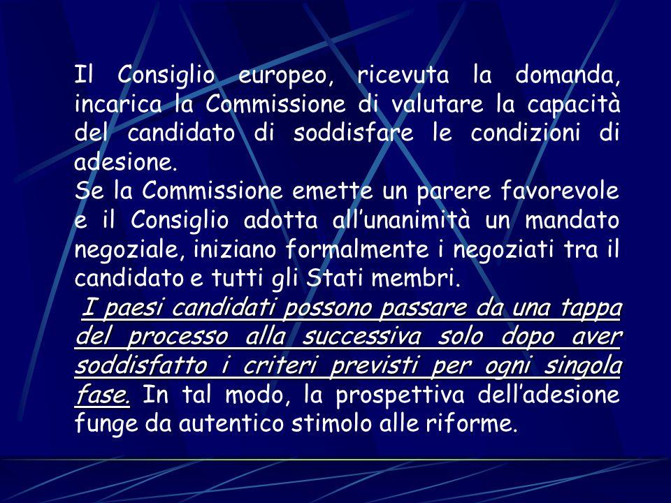 Il Consiglio europeo, ricevuta la domanda, incarica la Commissione di valutare la capacità del candidato di soddisfare le condizioni di adesione. Se l