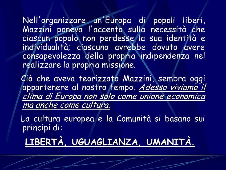 Nell'organizzare un'Europa di popoli liberi, Mazzini poneva l'accento sulla necessità che ciascun popolo non perdesse la sua identità e individualità;