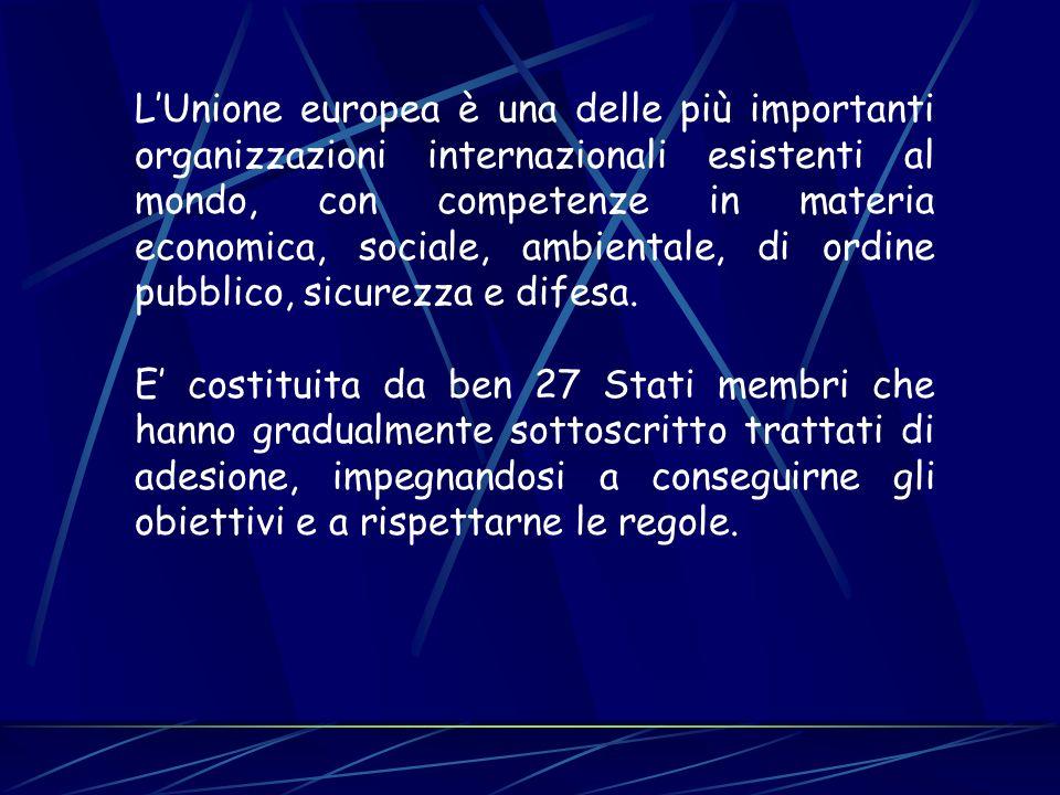LUnione europea è una delle più importanti organizzazioni internazionali esistenti al mondo, con competenze in materia economica, sociale, ambientale,