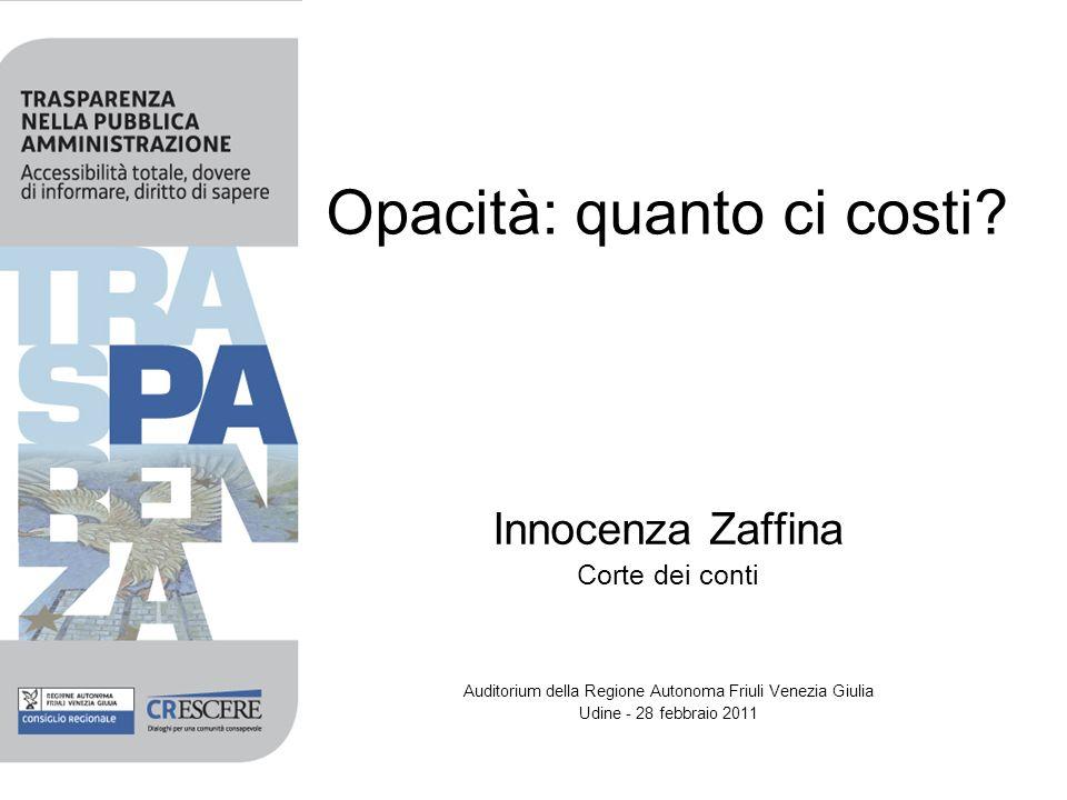 Opacità: quanto ci costi? Innocenza Zaffina Corte dei conti Auditorium della Regione Autonoma Friuli Venezia Giulia Udine - 28 febbraio 2011