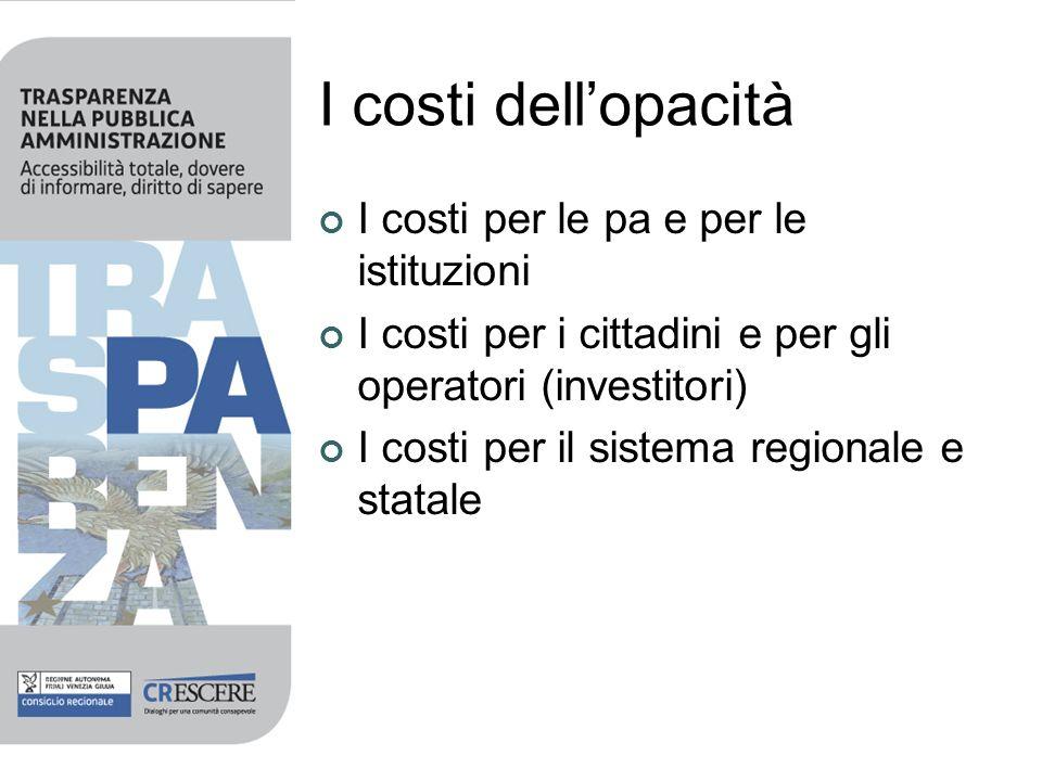 I costi dellopacità I costi per le pa e per le istituzioni I costi per i cittadini e per gli operatori (investitori) I costi per il sistema regionale