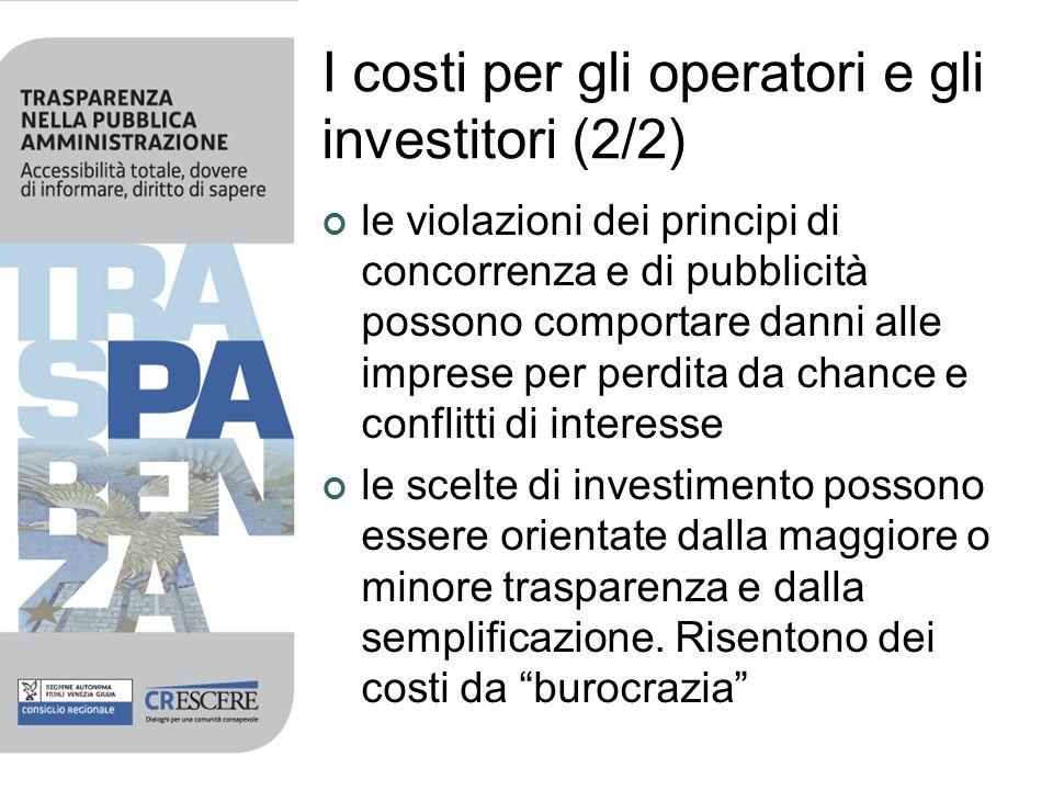 I costi per gli operatori e gli investitori (2/2) le violazioni dei principi di concorrenza e di pubblicità possono comportare danni alle imprese per
