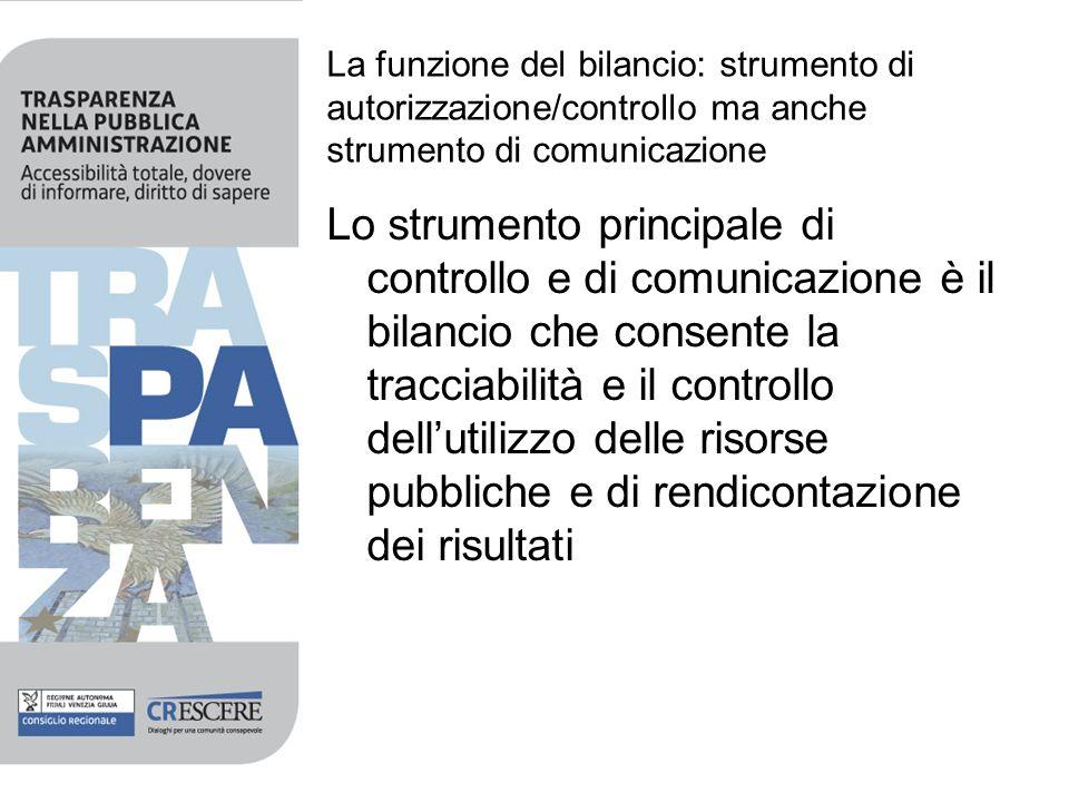 La funzione del bilancio: strumento di autorizzazione/controllo ma anche strumento di comunicazione Lo strumento principale di controllo e di comunica