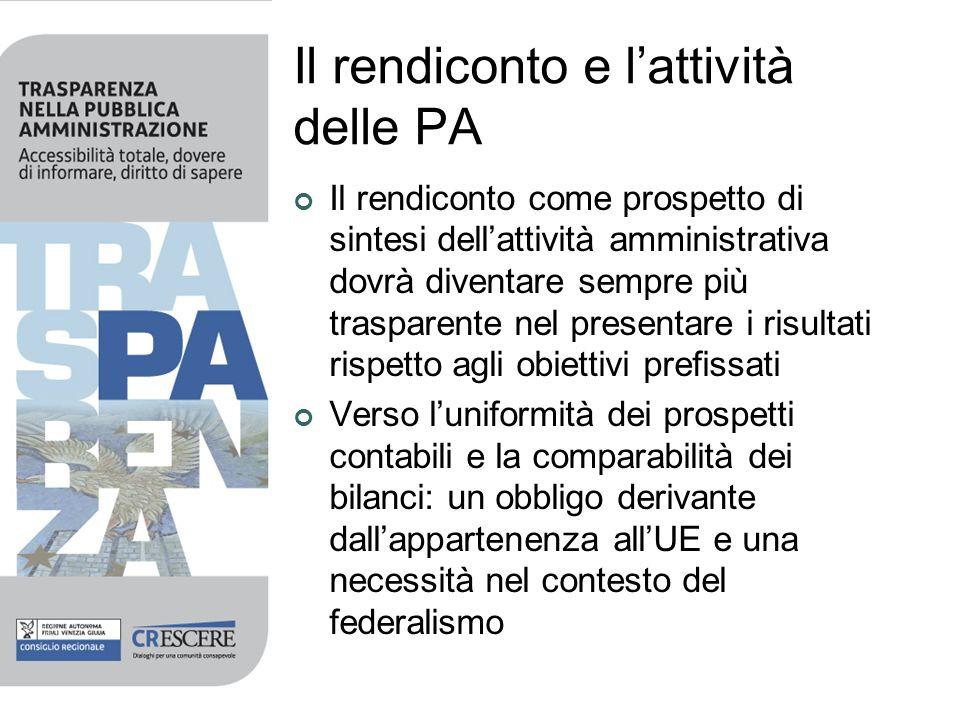 Il rendiconto e lattività delle PA Il rendiconto come prospetto di sintesi dellattività amministrativa dovrà diventare sempre più trasparente nel pres