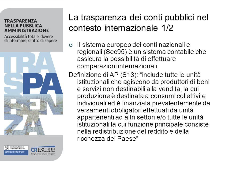 La trasparenza dei conti pubblici nel contesto internazionale 1/2 Il sistema europeo dei conti nazionali e regionali (Sec95) è un sistema contabile ch