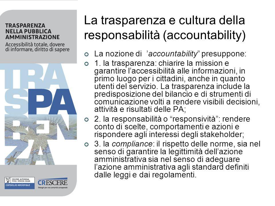 La trasparenza e cultura della responsabilità (accountability) La nozione di accountability presuppone: 1. la trasparenza: chiarire la mission e garan
