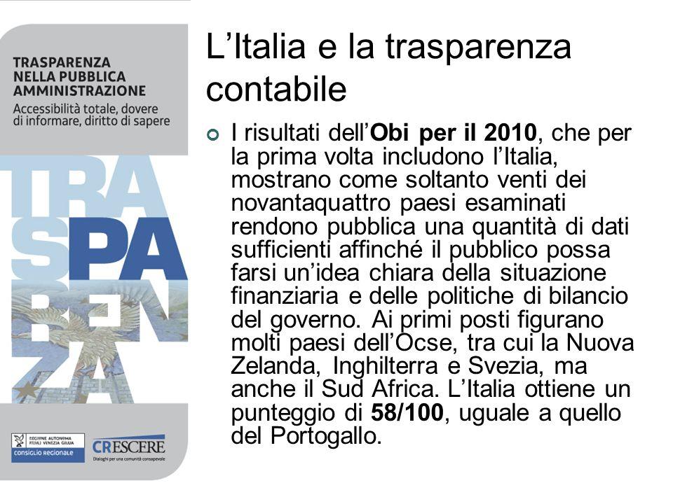 LItalia e la trasparenza contabile I risultati dellObi per il 2010, che per la prima volta includono lItalia, mostrano come soltanto venti dei novanta