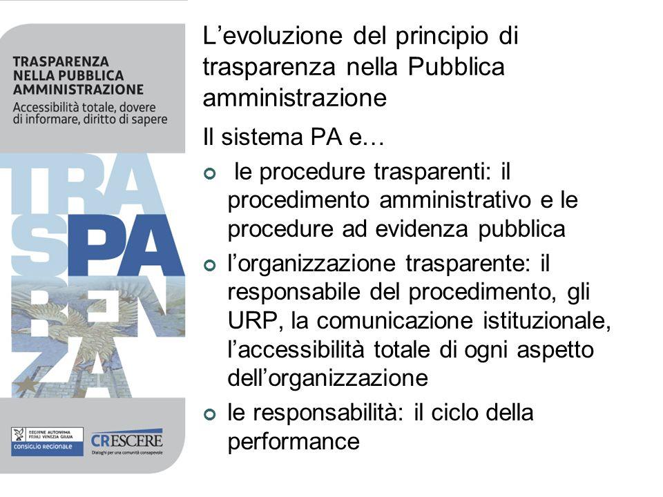 Levoluzione del principio di trasparenza nella Pubblica amministrazione Il sistema PA e… le procedure trasparenti: il procedimento amministrativo e le
