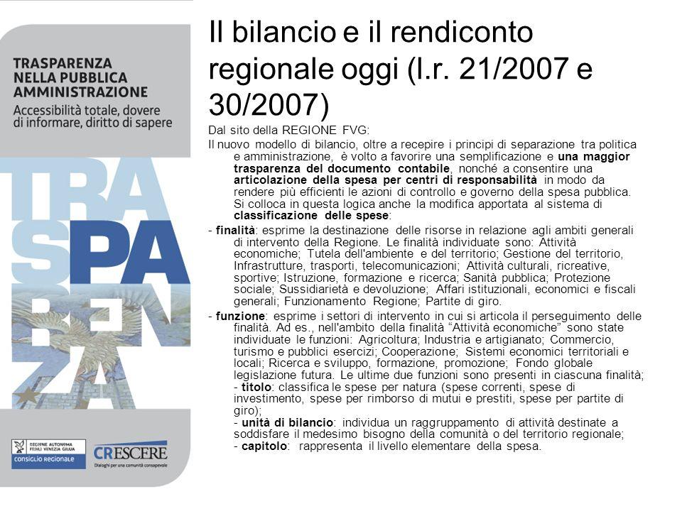 Il bilancio e il rendiconto regionale oggi (l.r. 21/2007 e 30/2007) Dal sito della REGIONE FVG: Il nuovo modello di bilancio, oltre a recepire i princ