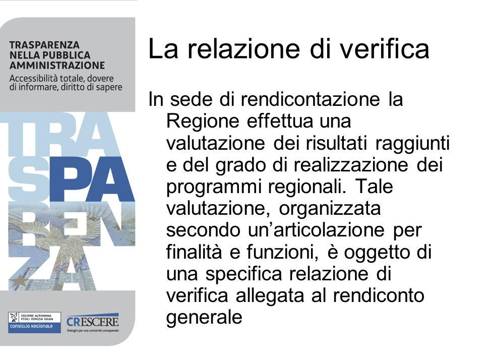 La relazione di verifica In sede di rendicontazione la Regione effettua una valutazione dei risultati raggiunti e del grado di realizzazione dei progr
