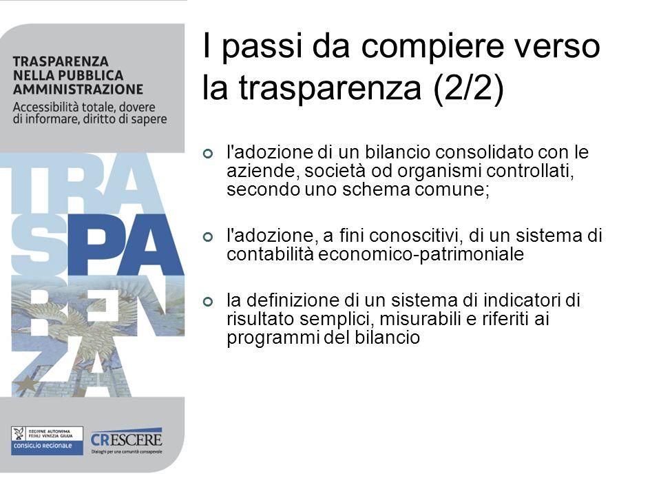 I passi da compiere verso la trasparenza (2/2) l'adozione di un bilancio consolidato con le aziende, società od organismi controllati, secondo uno sch