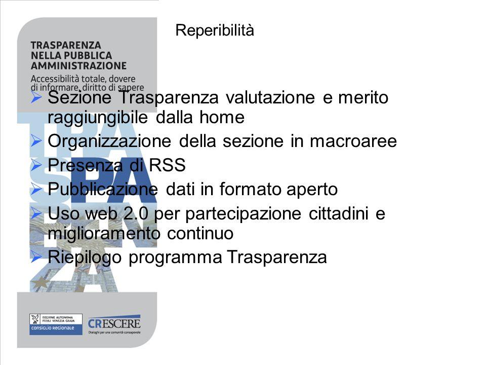 Reperibilità Sezione Trasparenza valutazione e merito raggiungibile dalla home Organizzazione della sezione in macroaree Presenza di RSS Pubblicazione