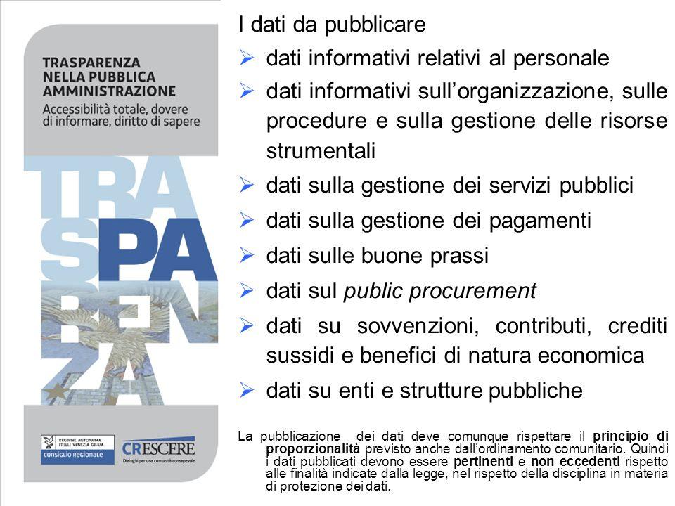 dati informativi relativi al personale dati informativi sullorganizzazione, sulle procedure e sulla gestione delle risorse strumentali dati sulla gest
