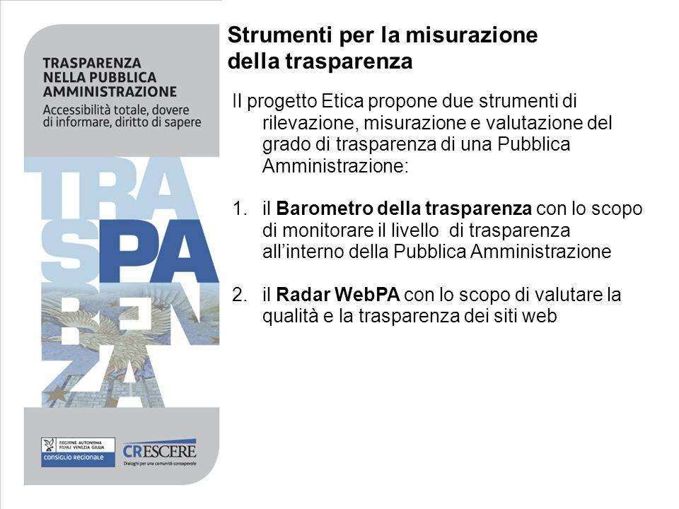 Strumenti per la misurazione della trasparenza Il progetto Etica propone due strumenti di rilevazione, misurazione e valutazione del grado di traspare