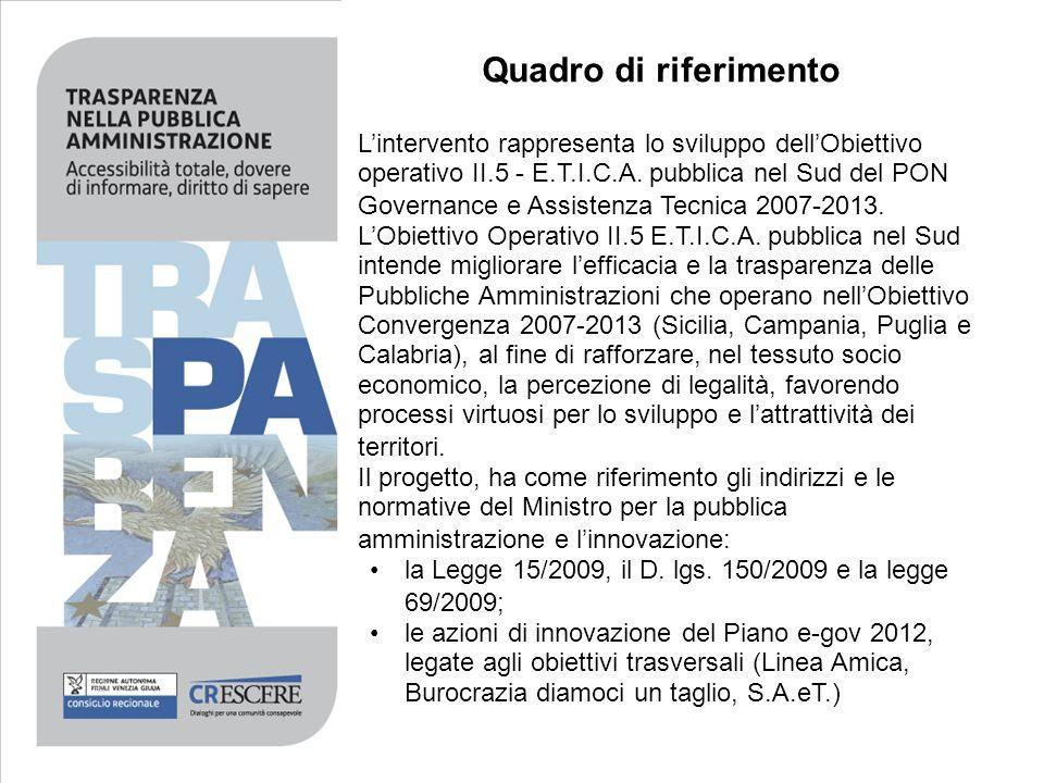 Lintervento rappresenta lo sviluppo dellObiettivo operativo II.5 - E.T.I.C.A. pubblica nel Sud del PON Governance e Assistenza Tecnica 2007-2013. LObi