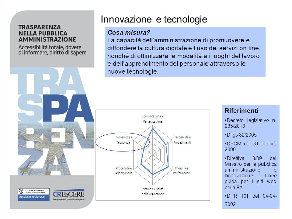 Innovazione e tecnologie Cosa misura? La capacità dellamministrazione di promuovere e diffondere la cultura digitale e luso dei servizi on line, nonch