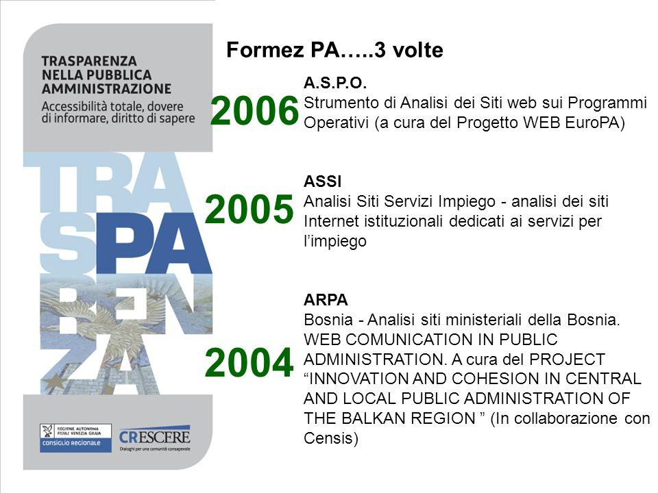 Formez PA…..3 volte A.S.P.O. Strumento di Analisi dei Siti web sui Programmi Operativi (a cura del Progetto WEB EuroPA) ASSI Analisi Siti Servizi Impi
