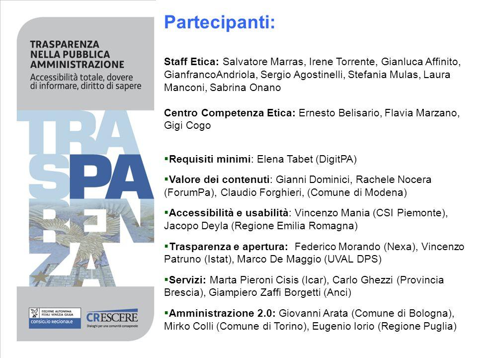 Partecipanti: Staff Etica: Salvatore Marras, Irene Torrente, Gianluca Affinito, GianfrancoAndriola, Sergio Agostinelli, Stefania Mulas, Laura Manconi,