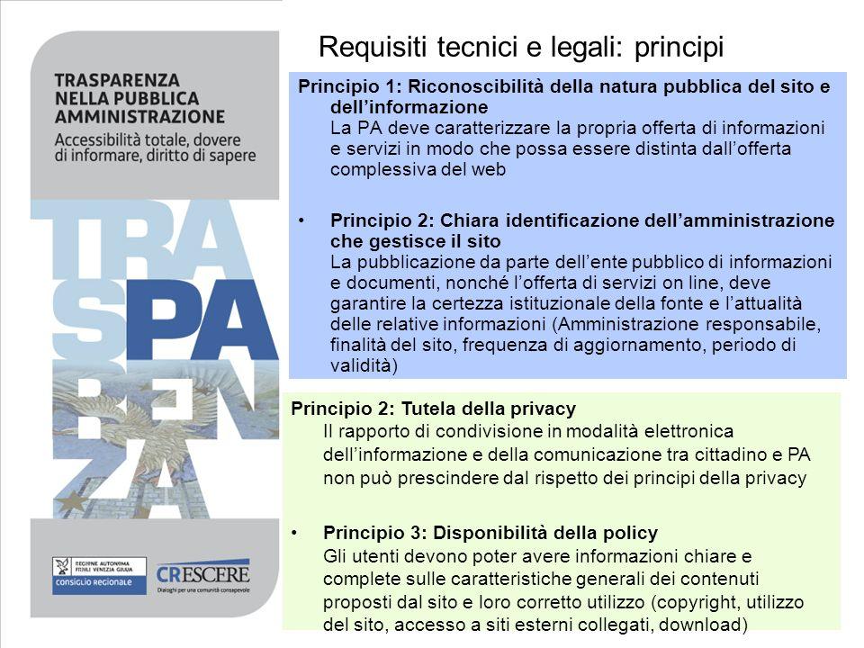 Requisiti tecnici e legali: principi Principio 1: Riconoscibilità della natura pubblica del sito e dellinformazione La PA deve caratterizzare la propr