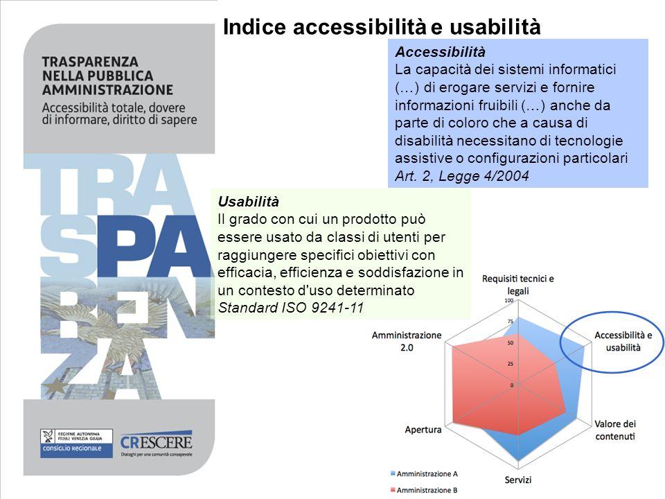 Indice accessibilità e usabilità Accessibilità La capacità dei sistemi informatici (…) di erogare servizi e fornire informazioni fruibili (…) anche da