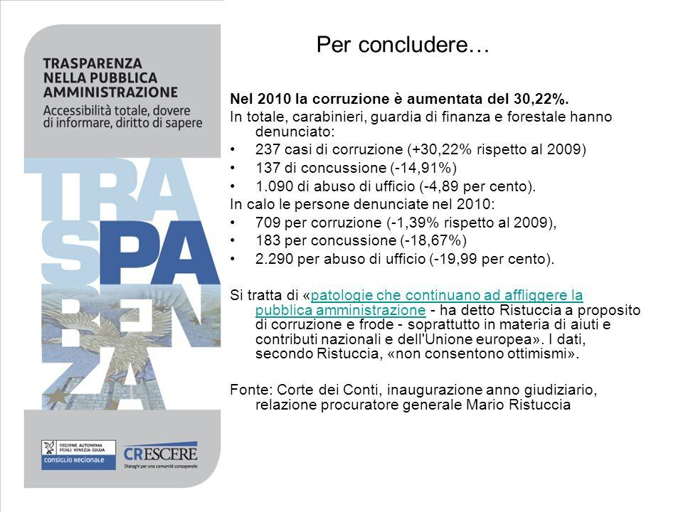 Per concludere… Nel 2010 la corruzione è aumentata del 30,22%. In totale, carabinieri, guardia di finanza e forestale hanno denunciato: 237 casi di co
