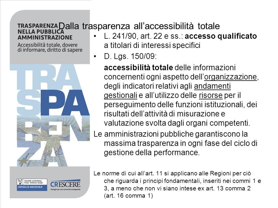 Dalla trasparenza allaccessibilità totale L. 241/90, art. 22 e ss.: accesso qualificato a titolari di interessi specifici D. Lgs. 150/09: accessibilit