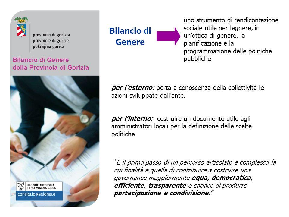 Bilancio di Genere della Provincia di Gorizia Bilancio di Genere È il primo passo di un percorso articolato e complesso la cui finalità è quella di contribuire a costruire una governance maggiormente equa, democratica, efficiente, trasparente e capace di produrre partecipazione e condivisione.