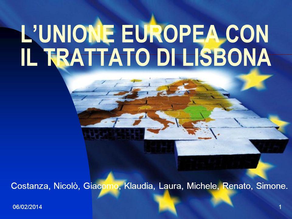 06/02/20142 Trattato di Lisbona Entrato in vigore il 1° dicembre 2009 Definisce chiaramente gli obiettivi dellUnione sono i valori di pace, democrazia, rispetto dei diritti umani, giustizia e uguaglianza.