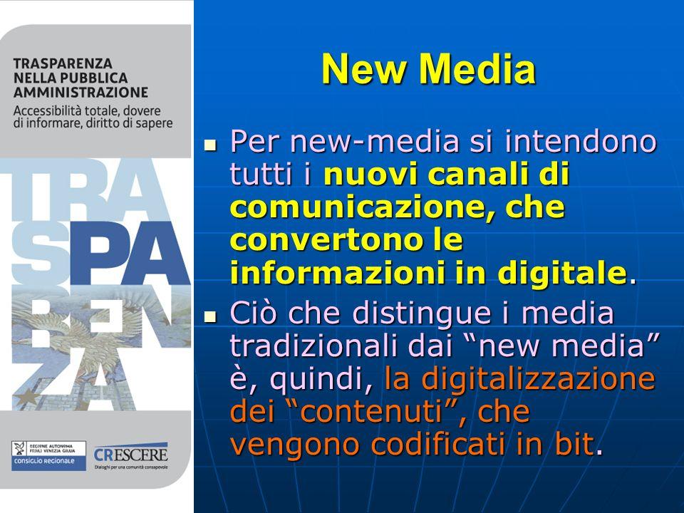 New Media Per new-media si intendono tutti i nuovi canali di comunicazione, che convertono le informazioni in digitale.