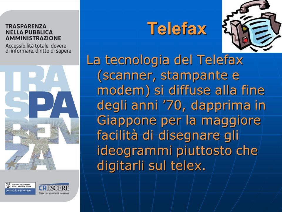 Telefax La tecnologia del Telefax (scanner, stampante e modem) si diffuse alla fine degli anni 70, dapprima in Giappone per la maggiore facilità di disegnare gli ideogrammi piuttosto che digitarli sul telex.