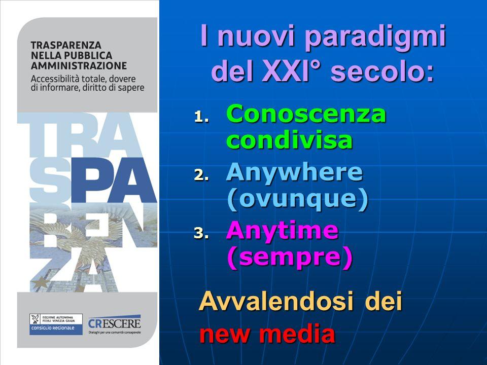 I nuovi paradigmi del XXI° secolo: 1. C onoscenza condivisa 2.