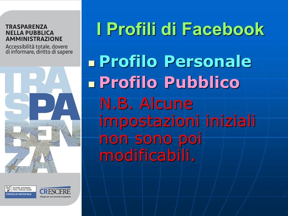 I Profili di Facebook Profilo Personale Profilo Personale Profilo Pubblico Profilo Pubblico N.B.