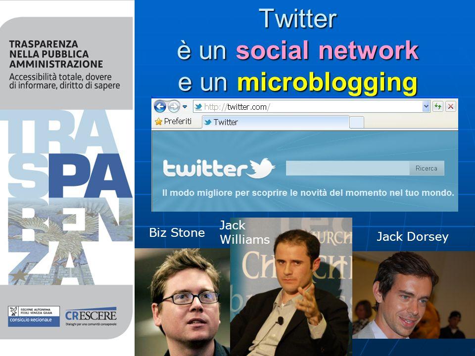 Twitter è un social network e un microblogging Biz Stone Jack Williams Jack Dorsey
