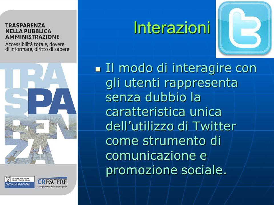 Interazioni Il modo di interagire con gli utenti rappresenta senza dubbio la caratteristica unica dellutilizzo di Twitter come strumento di comunicazione e promozione sociale.