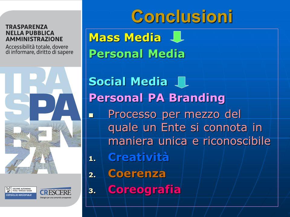 Conclusioni Mass Media Personal Media Social Media Personal PA Branding Processo per mezzo del quale un Ente si connota in maniera unica e riconoscibile Processo per mezzo del quale un Ente si connota in maniera unica e riconoscibile 1.