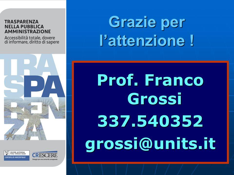 Grazie per lattenzione ! Prof. Franco Grossi 337.540352grossi@units.it